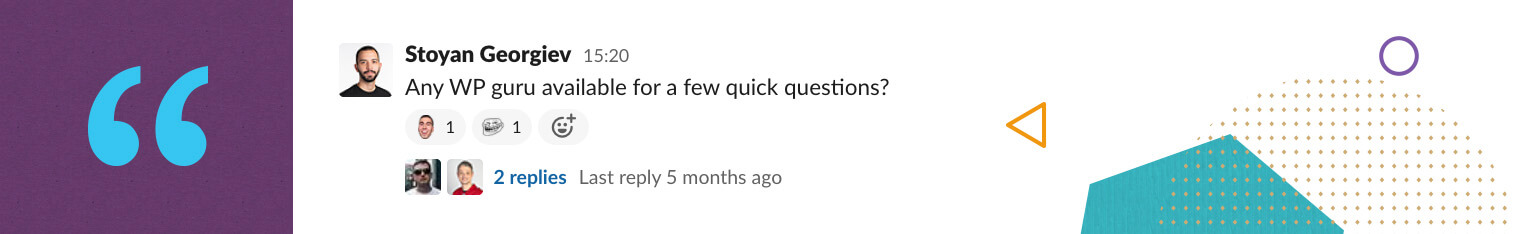 A screenshot of Stoyan's question in Slack